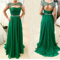 Sexy Open Back Party Evening Dress Women Formal Prom Gown Luxury Crystal Beading Emerald Green Long