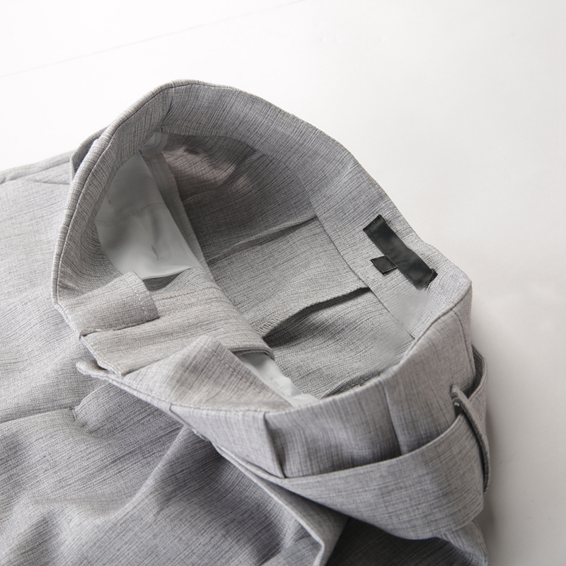Gray High Waist Metal Ring Bandage Pants 6
