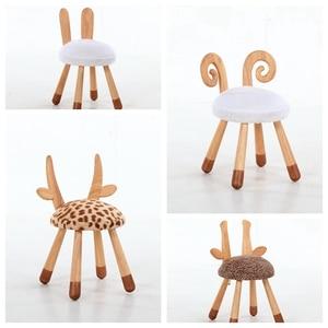 Image 3 - חם מיהר פוף Poire Taburetes כיסא נורדי מוצק עץ ספסל ביתי החלפת נעלי שרפרף עגול ילדי קריקטורה בעלי החיים