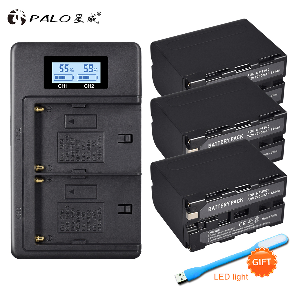 3Packs 7.2V 7200mAh NP-F960 NP-F970 Camcorder Batteries+1 pcs LCD smart charger  for Sony NP-F550 F770 F750 F960 F9703Packs 7.2V 7200mAh NP-F960 NP-F970 Camcorder Batteries+1 pcs LCD smart charger  for Sony NP-F550 F770 F750 F960 F970