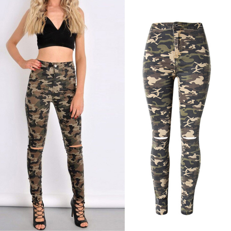 2017 New Brand Women Fitness Cloth Camouflage High Waist Elastic Stretch Holes Jeans Pencil Pants Street Style Denim Trousers 2017 new jeans women spring pants high waist thin slim elastic waist pencil pants fashion denim trousers 3 color plus size