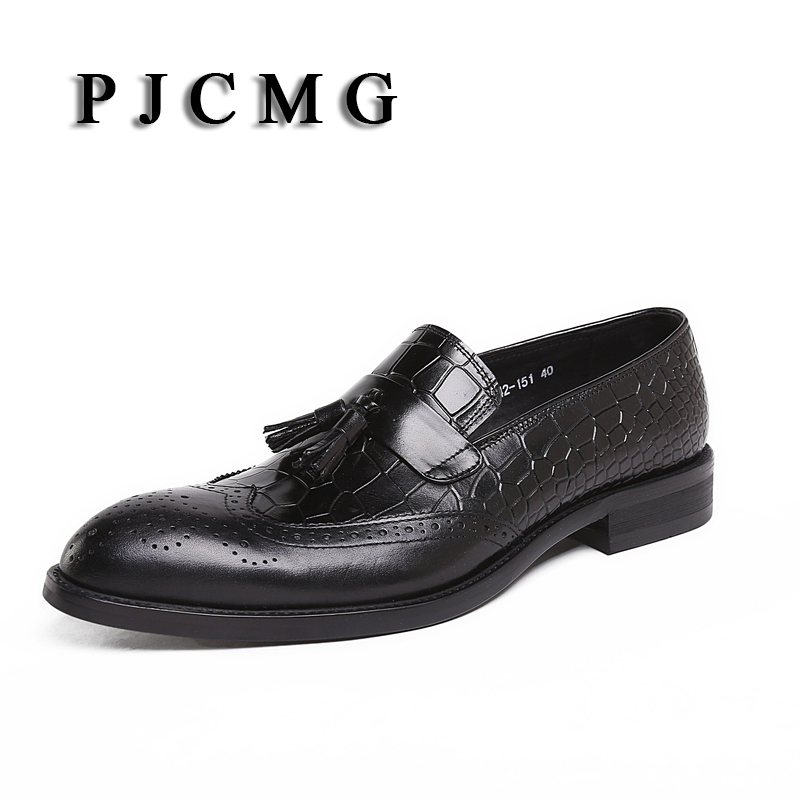 PJCMG Brand New Fashion Men Cowhide Genuine Leather Commercial Wedding  Business Casual Breathable Men's Dress Oxfords Shoes 2017 new spring imported leather men s shoes white eather shoes breathable sneaker fashion men casual shoes