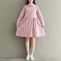 Autumn Loose Dot Printed Long Sleeve Doll Dress