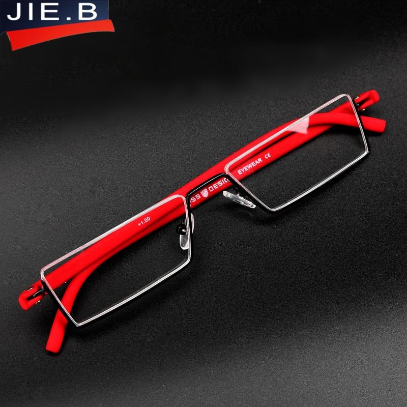 9b7dca5b93f TR-90 Half Metal Frame Slim Portable Black Compact Reading Glasses Antieye  Fatigue With Box