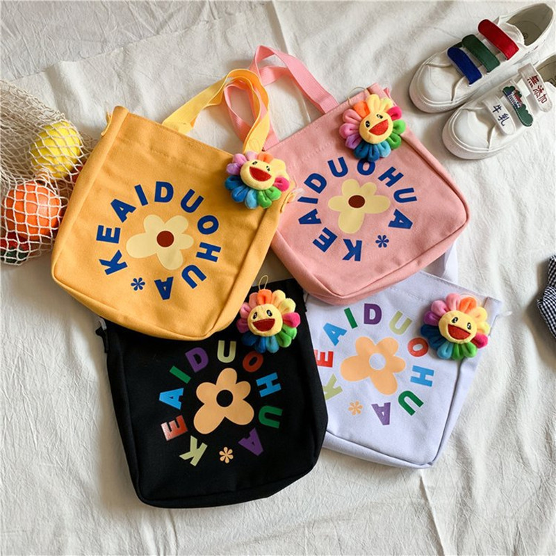 Student Cartoon Canvas Shoulder Bags Cute Girl Flower Handbag Women Travel Shopping Bag Zipper Letter Tote Bags Korean Style