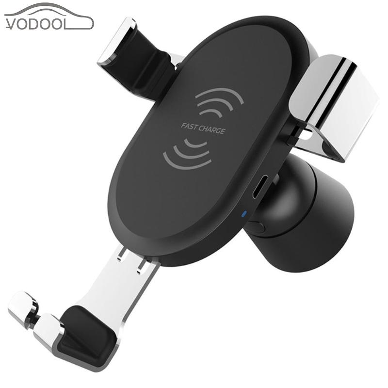 VODOOL Car Air Vent Center Console Phone Holder Suppror Wireless Charger Inductive Fast Charging Stand Bracket for Mobile Phone