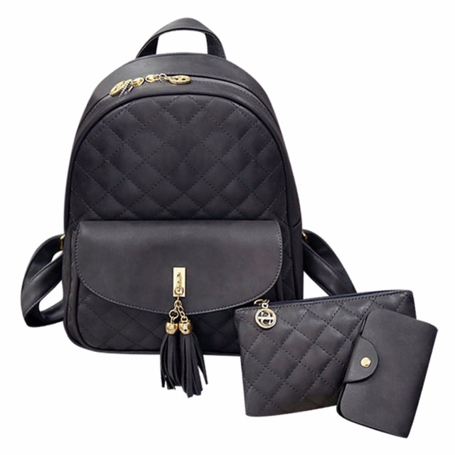 cc91fcda4be0 3 Pcs Set Women Preppy Style Backpack Plaid PU Leather Backpacks Bear  Clutch Zipper Composite