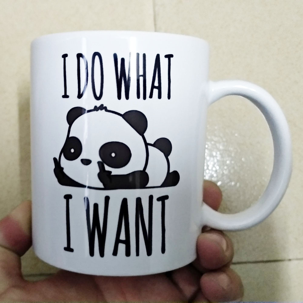 Cute Panda I DO WHAT I WANT Mug 330ml Ceramic Cup With Handle Coffee Tea Milk Mugs Nice Gifts For Friends Dad Son
