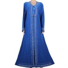Muslim Abaya Kaftan Islamic Clothing for Women Beading Design Turkish Women Clothes Maxi Abaya in Dubai Kaftan Dress Blue M1258