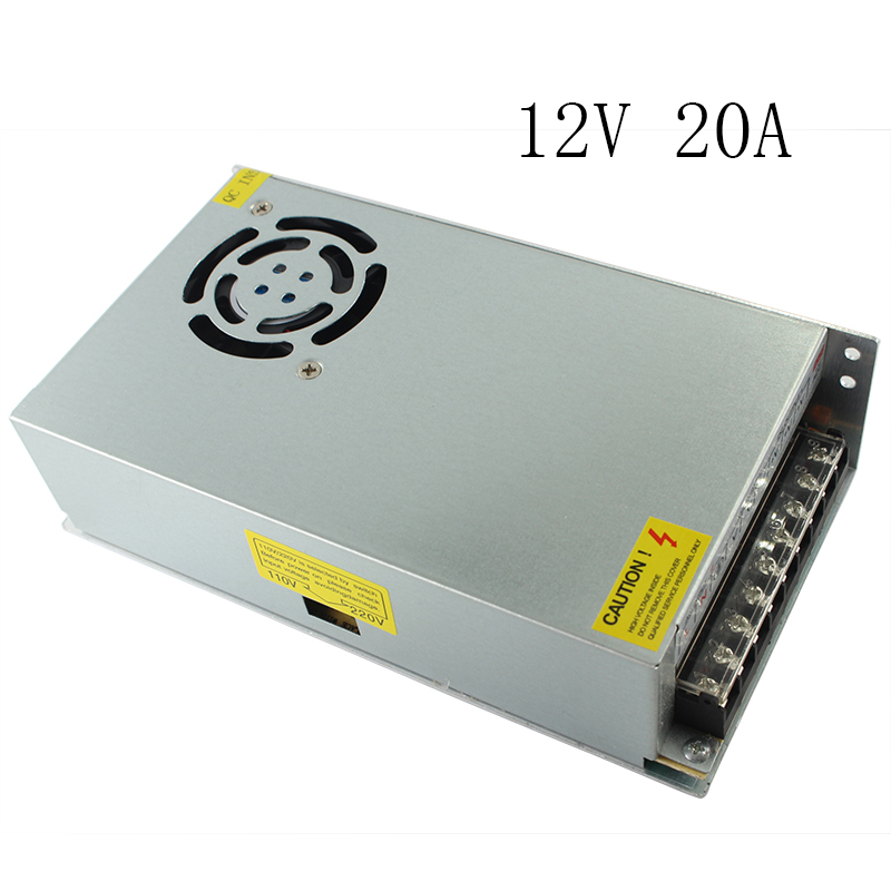 Dual Output AC/DC 12V Metal Power Supply Transformer Power Adapters for StripSupply 12V 20A 250W industrial grade dual power 12v 12v power supply d 60c dc dual output power supply 12v 2 5a 12v 2 5a 100 240v