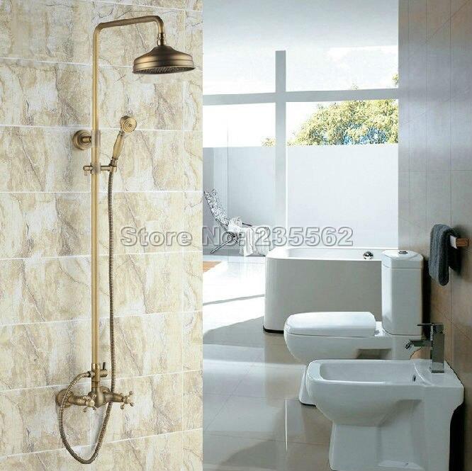 Antique Brass Vintage Bathroom Wall Mount Rain Shower Faucet Set Mixer Tap Taps Crs034