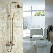 Juego de grifo de ducha de lluvia de montaje en pared de baño Vintage de latón antiguo Crs034