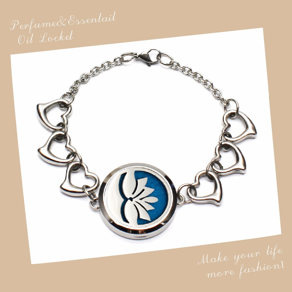 Hot Lotus Design Essential Oil/Aromatherapy Diffuser Bracelet With Heart Band Hollow Perfume pendant Bracelet With Felt Pads