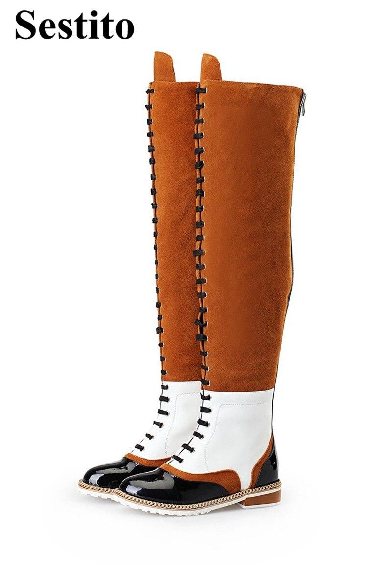 Schuhe Frauen Niedrigen Kappe Platz Runde As Ferse Neue Stiefel Mischfarben Zip Knie hohe gebunden Picture Mode Für Kreuz Frau Kette T4qC46w