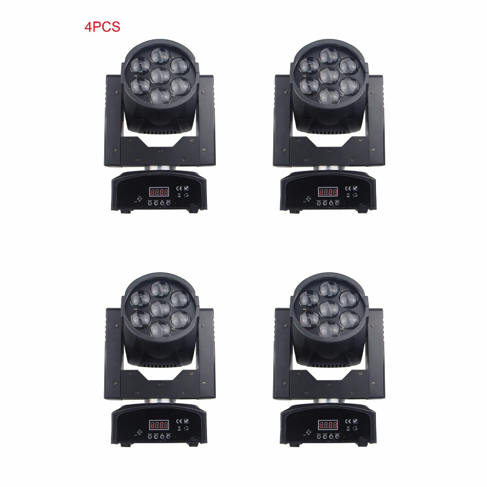 4pcs/lot 7x15w RGBW Stage Light LED Wash Zoom Beam Mini Moving Head Lights DMX 512 Disco DJ Party Lighting dmx 512 mini moving head light rgbw led stage par light lighting strobe professional 9 14 channels party disco show