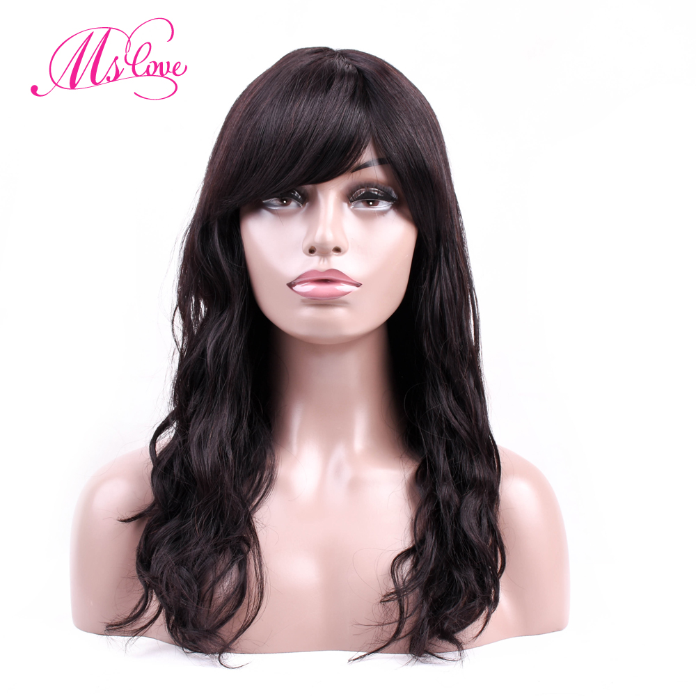 Ms Love Human Hair Wigs Body Wave Long Wig 18 Inch Brazilian Wigs For Black Women Non Remy Hair Natural Black 1b#
