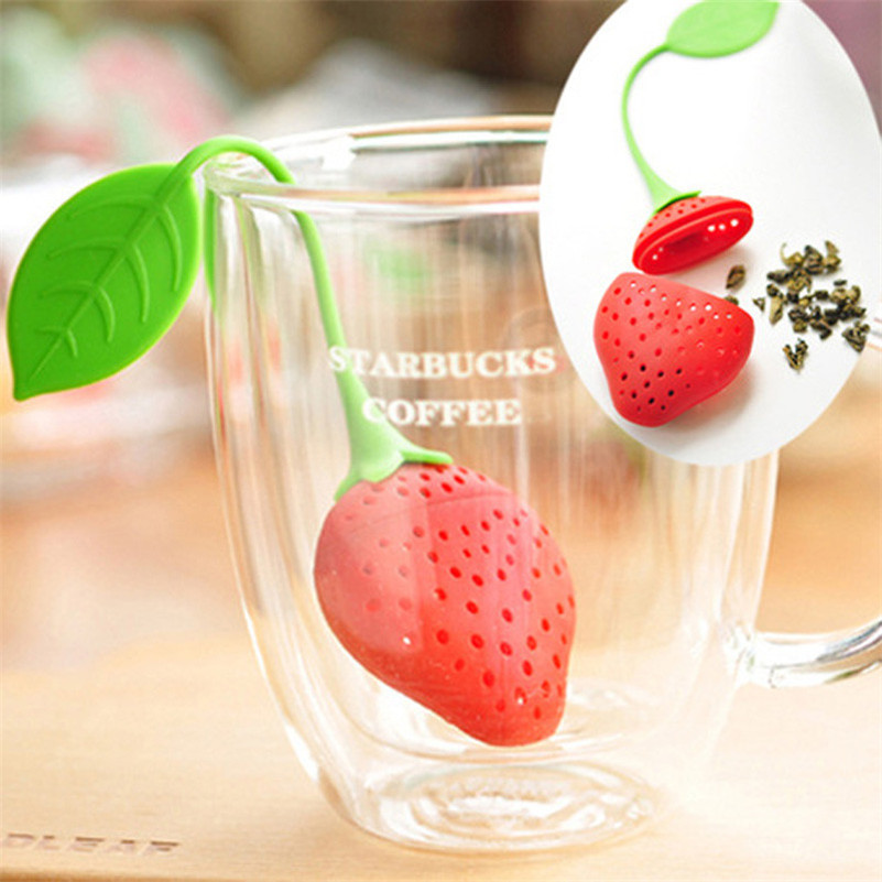 1 pc Tea Leaf Strainer Silicone Strawberry Design Loose Herbal Spice Infuser Filter Office Regimen Tea Tools New Wholesale