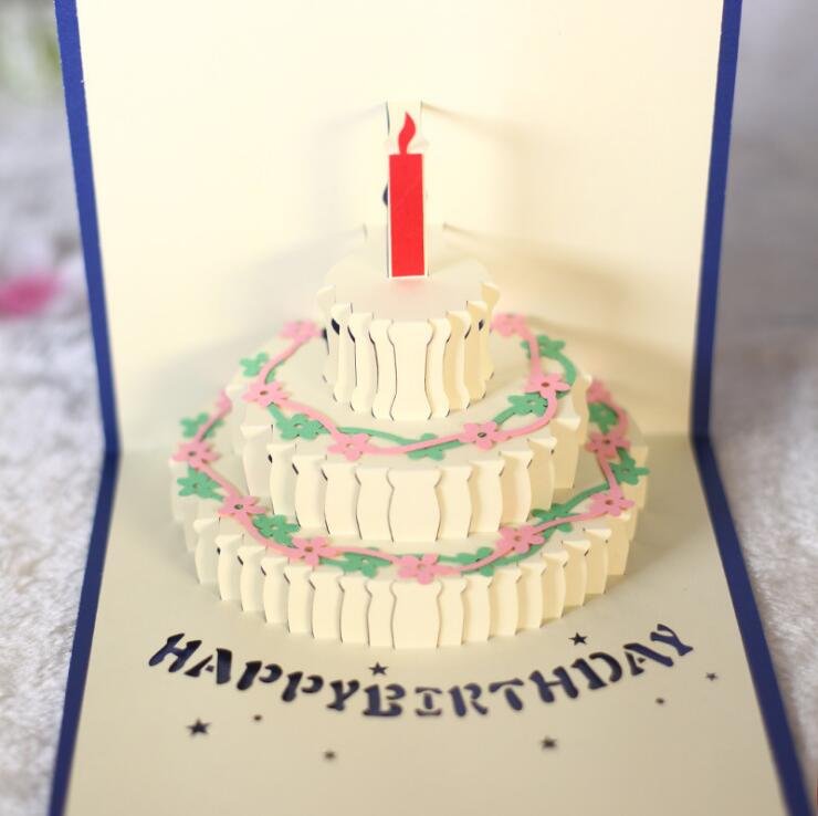 3D Handcrafted Origami Birthday Cake Candle Design