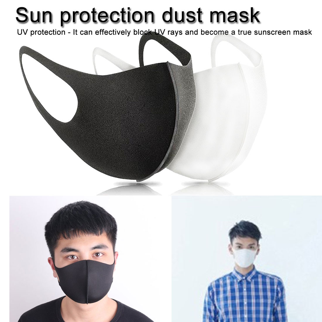 Solid Thin 3D Face Mask Three-dimensional Unisex 1PC Ice Silk Sun Washable Summer Dust Proof Breathable