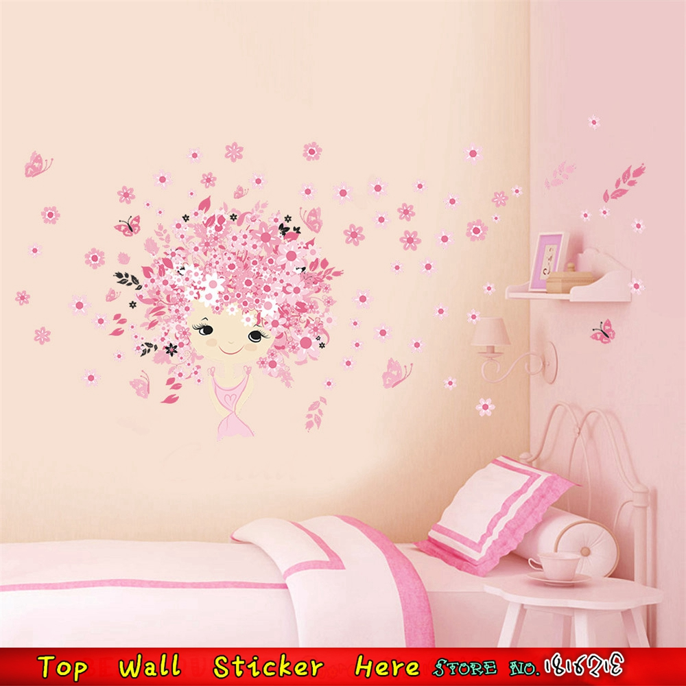 Removable DIY Baby Girls Room Bedroom Wall Decoration Sticker Pink Flowers  Fairy Wall Decals Waterproof Vinyl