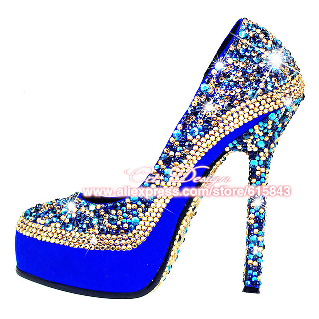 Fashion Women Pumps Royalblue Crystal Wedding Shoes Customized Sparkly Platform Rhinestone Party Evening High Heels