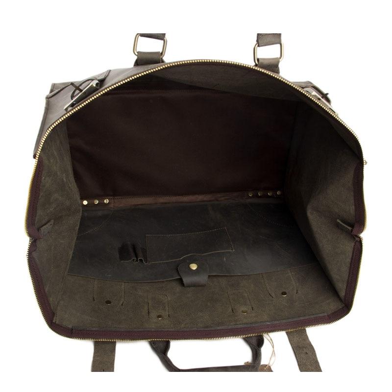 rockcow vindima couro de cavalo Leather Duffle Bag Volume : Can Hold 18 Laptop