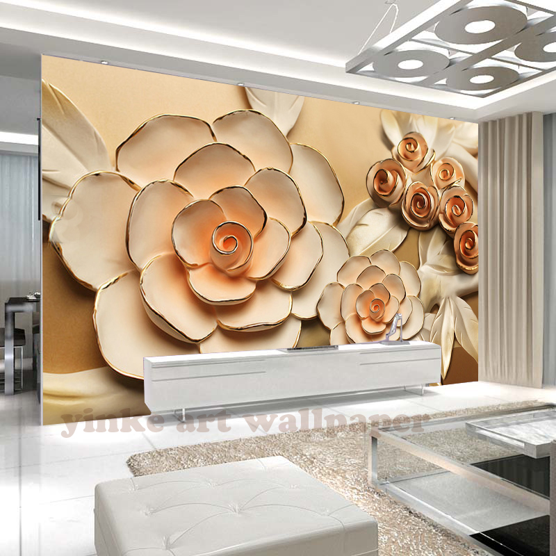 Custom 3D Relief Photo Wallpaper  Rose Flower 3D Stereoscopic Relief Mural Paintings Living Room Background Wallpaper Modern Art