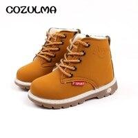 Детские ботинки COZULMA  кожаные ботинки на шнурках с мехом на осень и зиму для мальчиков и девочек