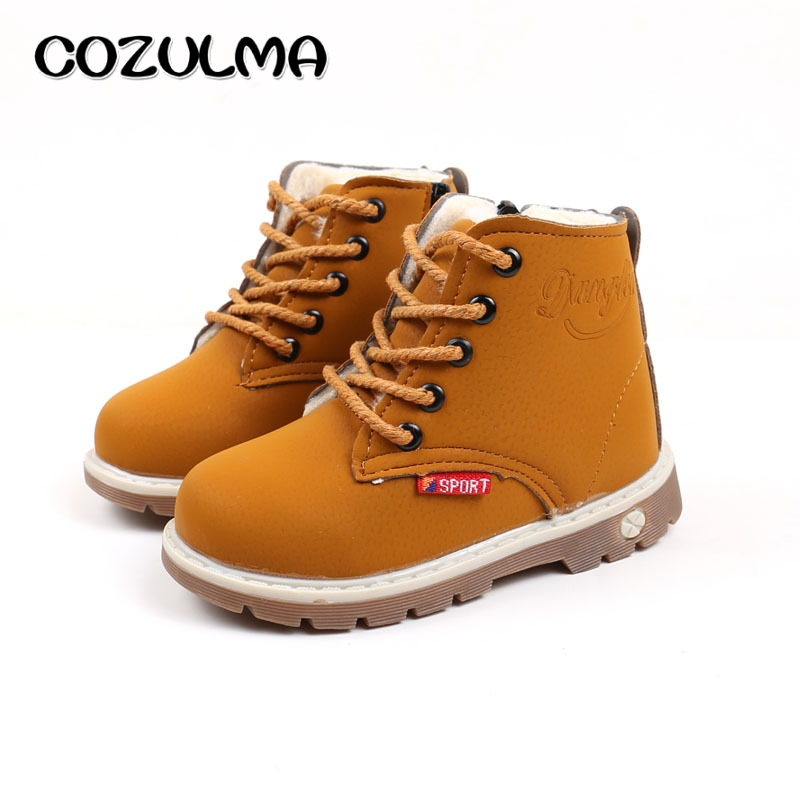 COZULMA Autumn Winter Toddler Kids Boots with Fur Girls Boys Martin Boots Girls Leather Boots Boys Lace-Up Shoes Children Shoes Сапоги