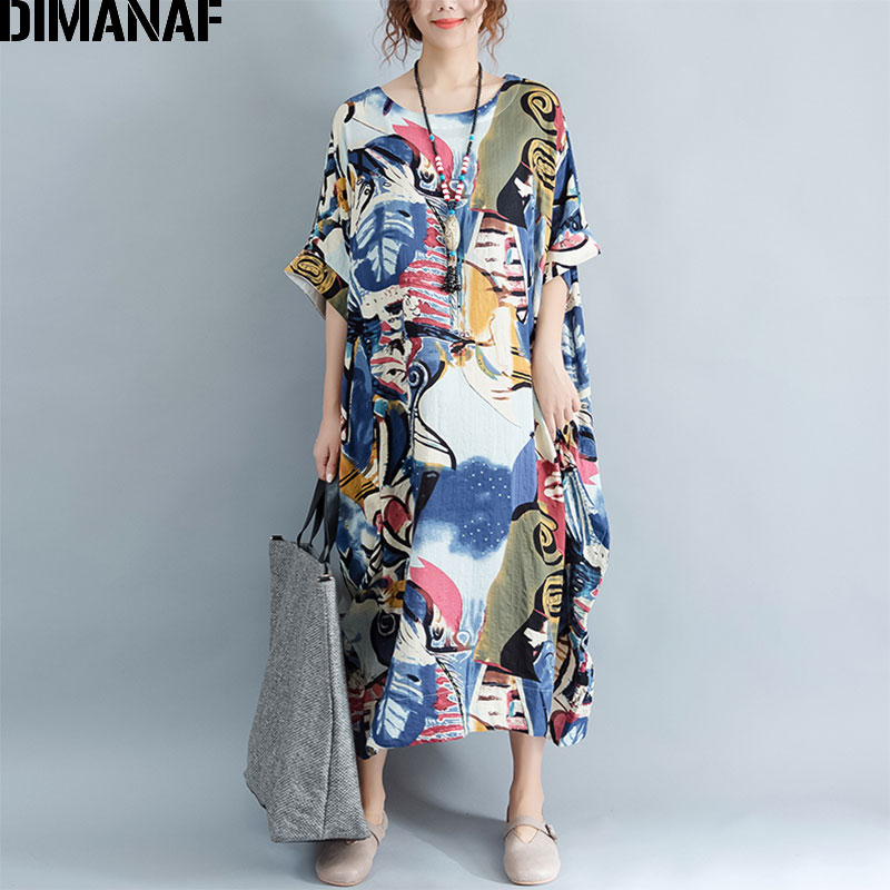 DIMANAF Plus Size Dress Kvinner Summer Pattern Patchwork Print Vintage Linen Dress Kvinnelig Casual Fashion Oversize Elegant Kjoler