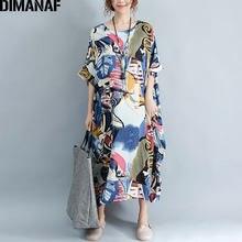 DIMANAF Artı Boyutu Elbise Kadın Yaz Desen Patchwork Baskı Bağbozumu Keten Elbise Kadın Rahat Moda Boy Zarif Elbiseler