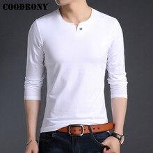 COODRONY Brand T Shirt Men Streetwear Top Tshirt Clothes 2019 Autumn Fashion Button T-Shirt Cotton Tee Homme 95021