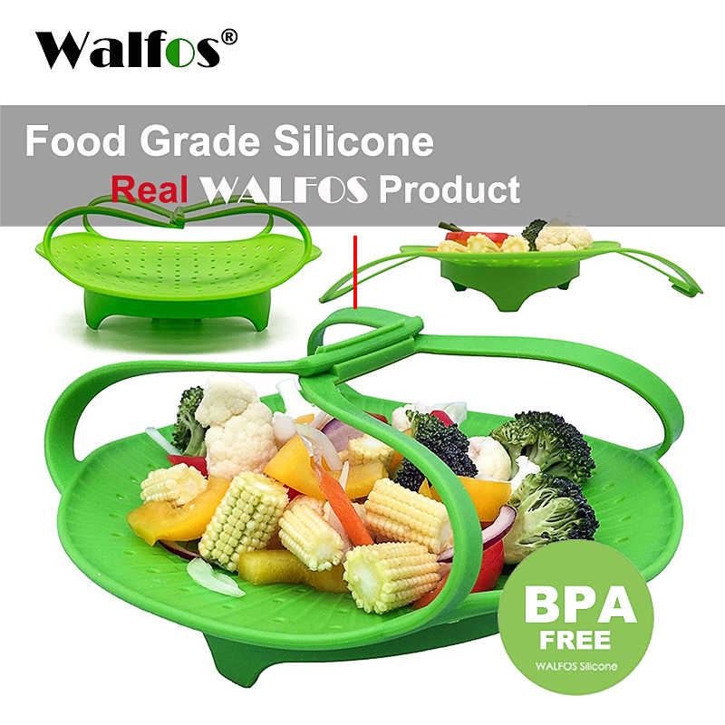 WALFOS Microwave Silicone Vegetable Steamer Food Grade Silicone Kitchen Accessories  For Cooking Food Steamer Basket Steam Tray
