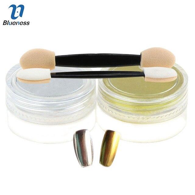1g 2 Kleuren Goud Zilver 3d Shine Nail Chrome Pigment Glitter Nail