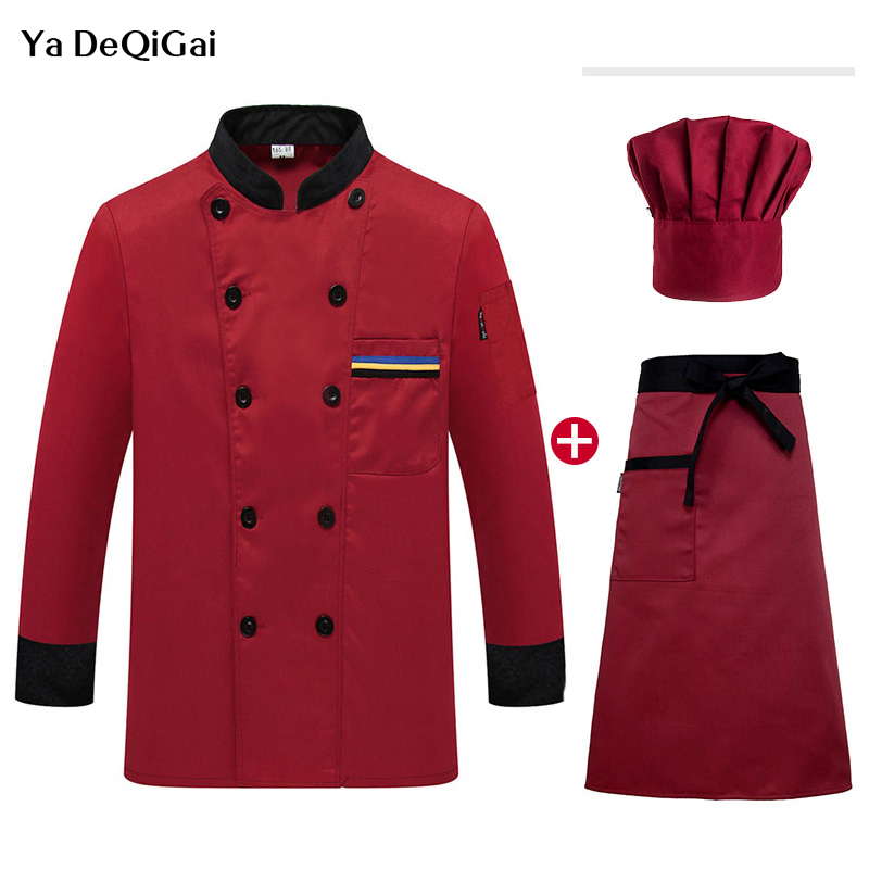 Long Sleeved Chef Jackets IF High Quality Restaurant Uniforms Shirts Hotel Catering Kitchen Workwear Bakery Waiter   Chef Coat