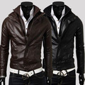 Free shipping men's double zipper design leather jacket casual stand-collar jacket leather high quality leather M-L-XL-XXL