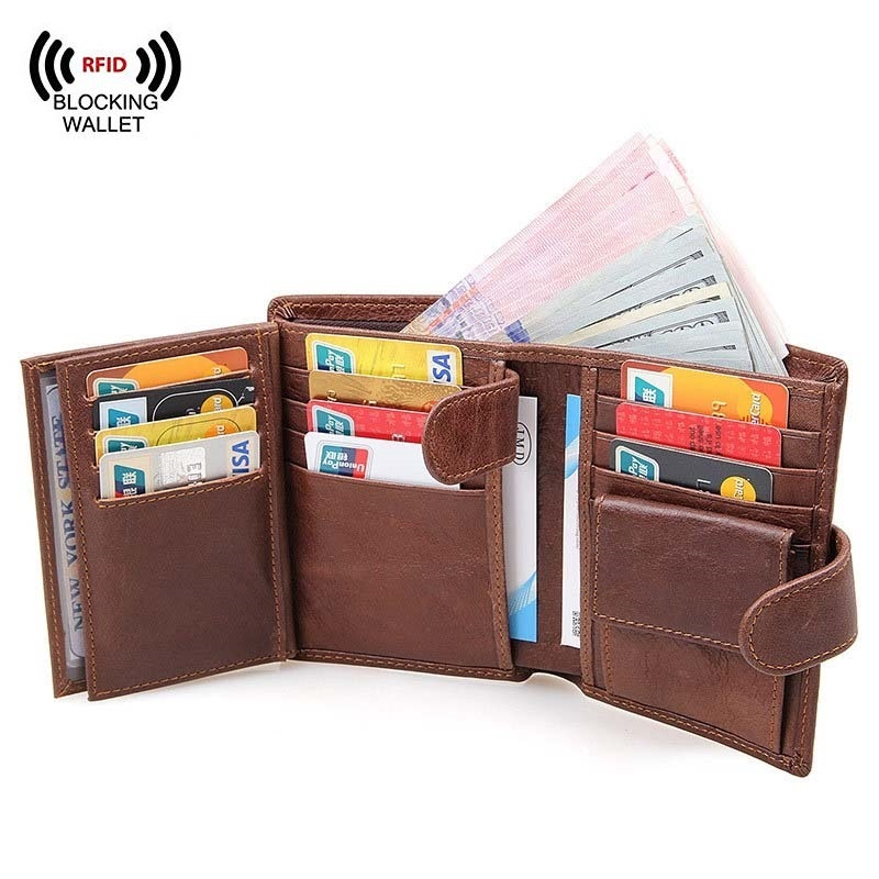 Men's RFID Blocking Genuine Leather Trifold