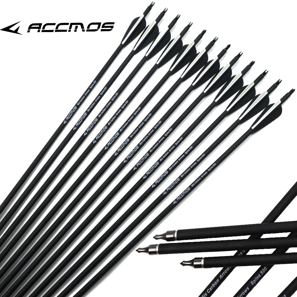 6/12/24/50pc 30 Inch 500 Spine Archery Carbon Arrow Replaceable Arrow Head Archery For Compound/Recurve Bow Hunting & Practice