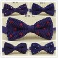 2014 nova roxo malha bowtie dot design de moda rosa Bordado azul vermelho dos homens gravata borboleta