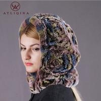 Atliqina real rabbit fur cap scarf two in one bandana for woman autumn Winter hat female genuine rex rabbit fur Russi