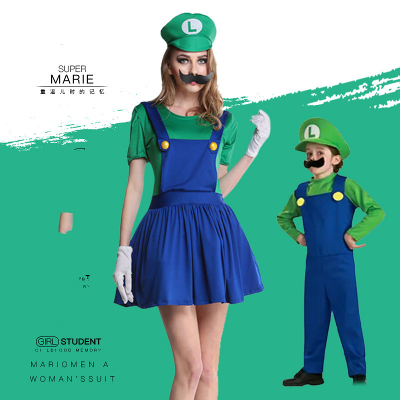 Men's Costumes Game Costumes Adults Kids Super Mario Luigi Brothers Plumber Cosplay Costumes Shirt Rompers Hats For Women Men Boys Girl Halloween Fancy Party Complete In Specifications