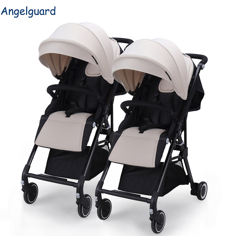AngelGuard detachable stroller twins baby carriages ultra-light umbrella can fight color multi-functional twins stroller