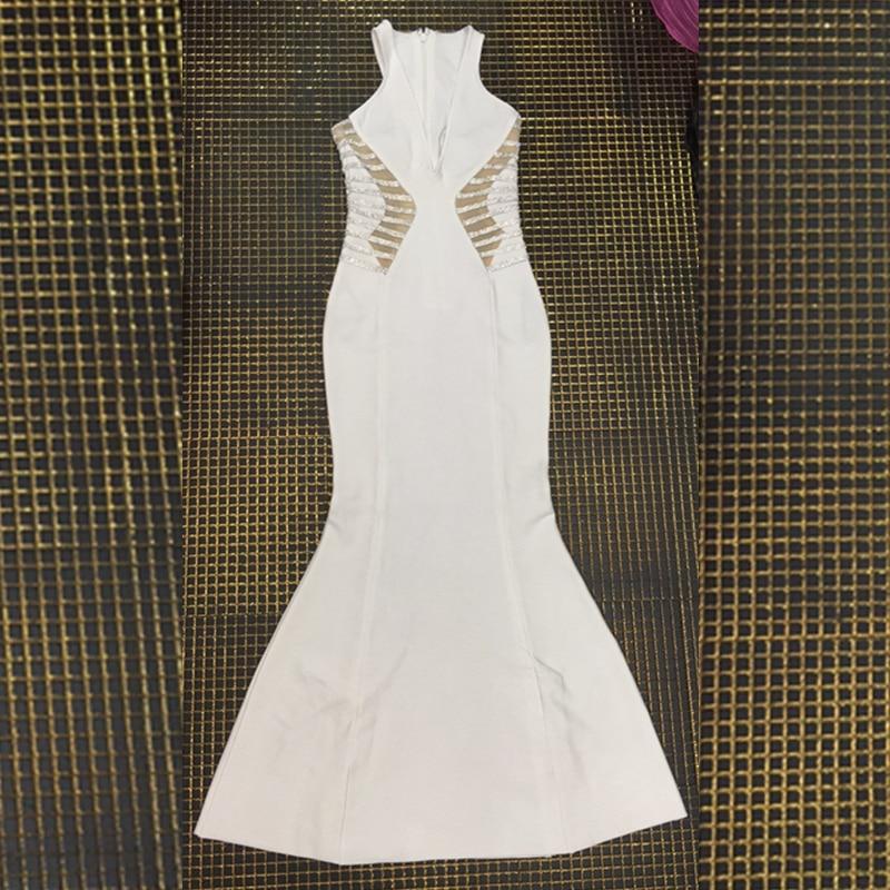 Patchwork Gros Soirée V D'été Cou Maxi Neweat Party Robe Diamant Longue Bandage Blanc 2018 De Robes Celebrity Festa Sexy wn8POUvxq