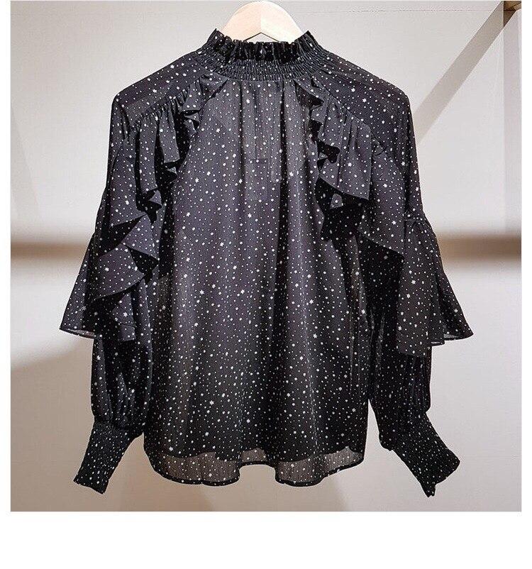 Collar Manga Murciélago Moda Nuevo Otoño Gasa Blusa Mujeres Las Largo Estampado Camisas De 2018 Volantes gwXHtqx