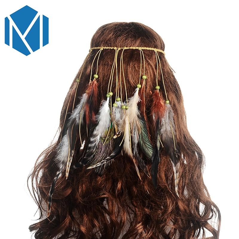 M MISM Retro Turban Färgglada Fjärra Pärlor Gypsy Tribe Hårband - Kläder tillbehör