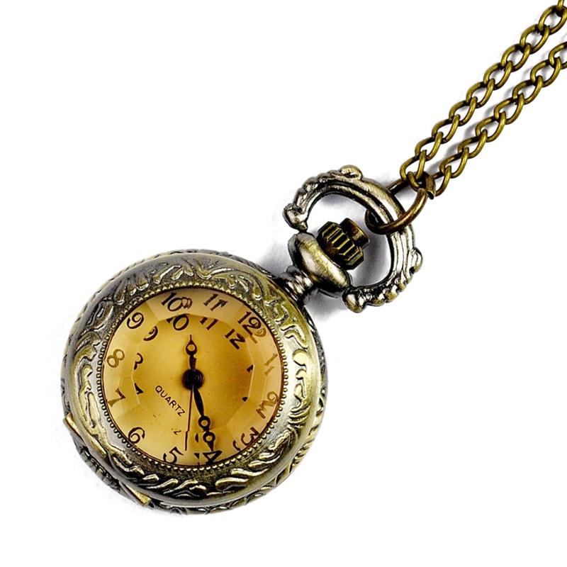 Vintage Bronze Glass Pocket Watch New European And American Classical Flip Pocket Watch Creative Carved Small Pocket Watch