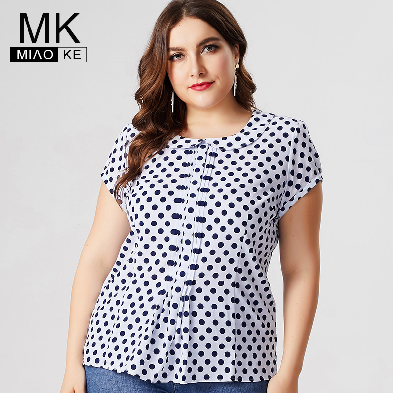MK 2019 Summer Womens Plus Size Polka Dot Short Sleeve Chiffon Tops And Blouses Fashion Ladies Office Lady Female T-shirts