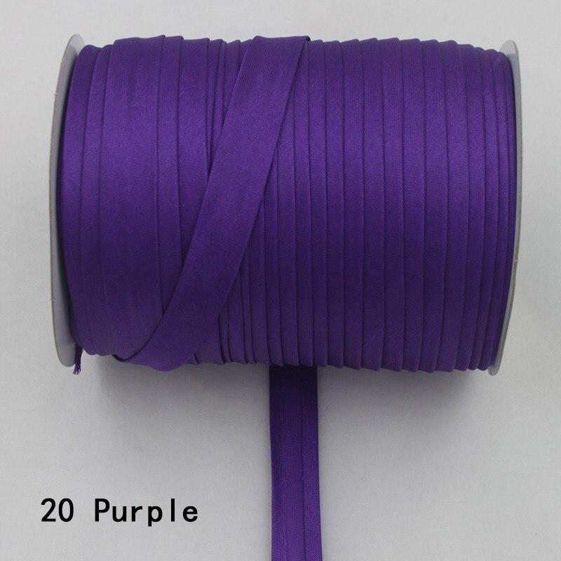 """100 ярд полиэстер 5/""""(15 мм) атласная косая лента косая Привязка сплошной цвет для пошив одежды «сделай сам» и обрезки - Цвет: 20     purple"""