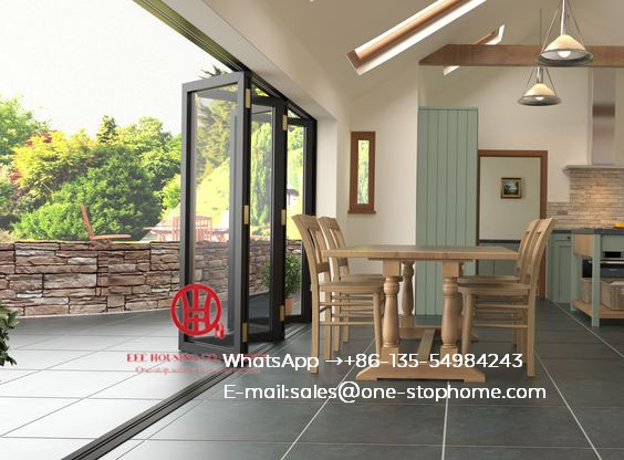 Energy Saving Insulated Aluminum Interior Glass Bi Folding Door,folding Doors For Living Room,aluminium Glass Fold Door