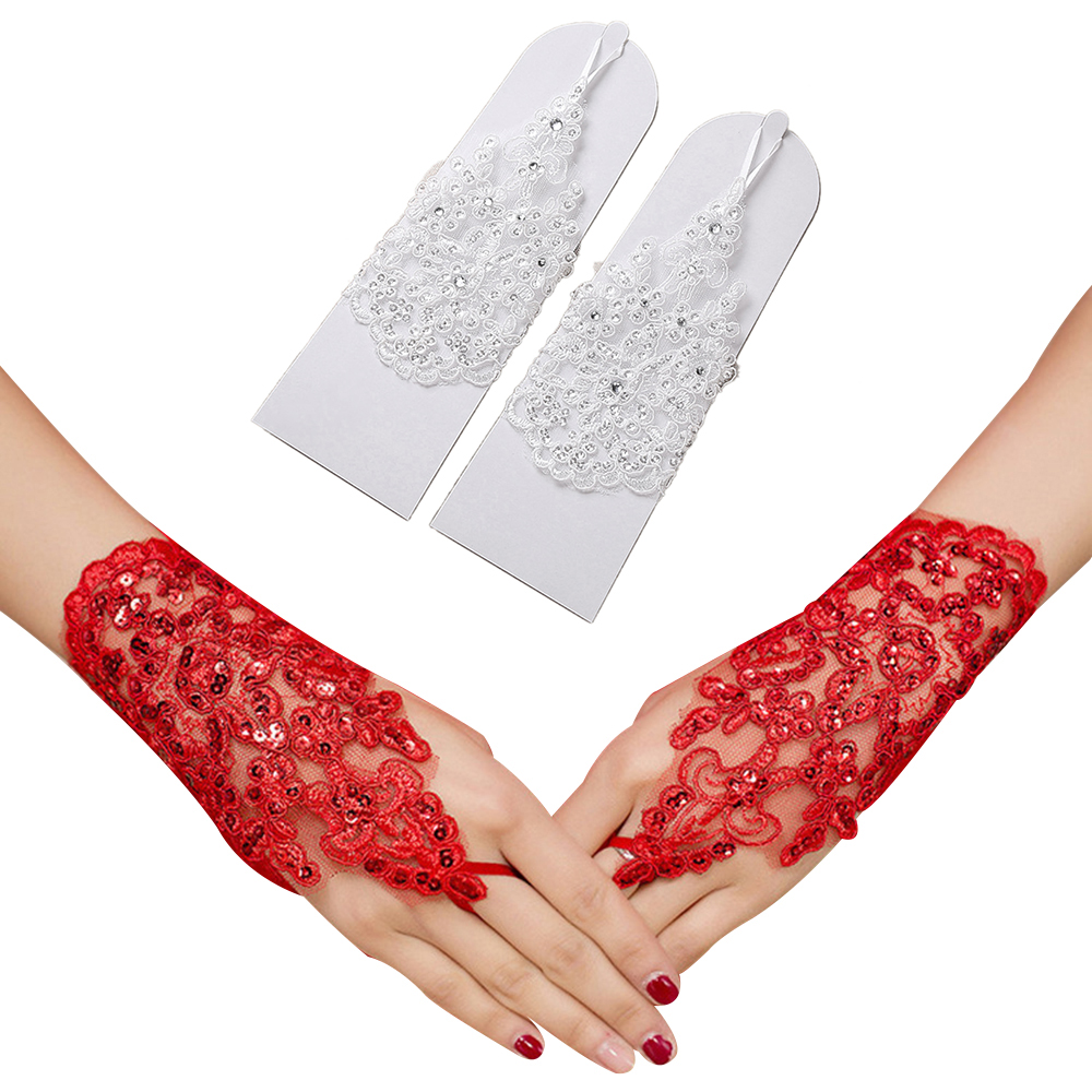 Hochzeit Zubehör 2018 Mode Handschuhe Elegante Blumen Perlen Spitze Finger Kurze Handschuhe Hochzeit Party Abend Braut Handschuhe Zubehör Neue Weddings & Events